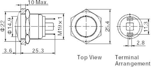 Vandalismusgeschützter Drucktaster 48 V/DC 2 A 1 x Aus/(Ein) TRU Components GQ19B-10/J/S IP65 tastend 1 St.