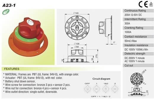 Kfz-Batterieschalter 32 V/DC 200 A 2 x Aus/Ein/Ein/Ein rastend SCI A23-1 IP54 1 St.