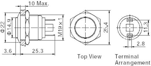 Vandalismusgeschützter Drucktaster 48 V/DC 2 A 1 x Aus/(Ein) TRU COMPONENTS GQ19H-10/J/N IP65 tastend 1 St.