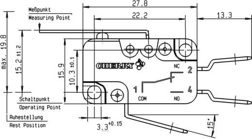Mikroschalter 250 V/AC 16 A 1 x Ein/(Ein) Cherry Switches D459-V3LD tastend 1 St.