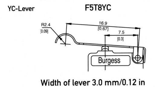 Mikroschalter 250 V/AC 5 A 1 x Ein/(Ein) Burgess F5T8YCUL IP40 tastend 1 St.