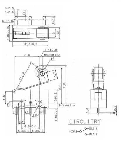 Mikroschalter 125 V/AC 3 A 1 x Ein/(Ein) Cherry Switches DG13-B2RA tastend 1 St.