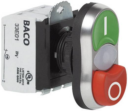 Doppeldrucktaster Frontring Kunststoff, verchromt Grün, Rot BACO L61QK21L 1 St.