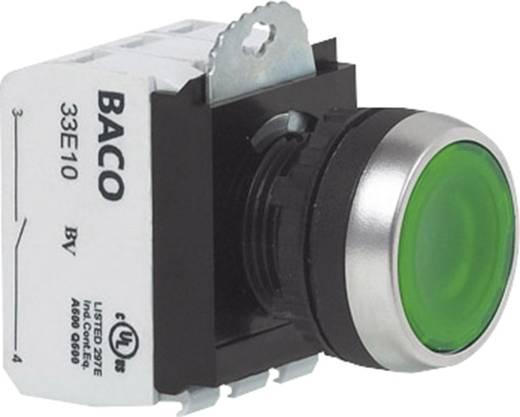 Drucktaster Frontring Metall, verchromt Grün BACO L21AA02M 1 St.