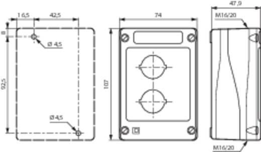Leergehäuse 2 Einbaustellen (L x B x H) 107 x 74 x 47.9 mm Grau-Schwarz BACO BALBX0200 1 St.