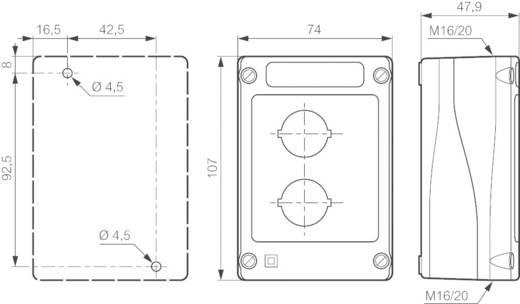 Leergehäuse 2 Einbaustellen (L x B x H) 107 x 74 x 47.9 mm Gelb-Schwarz BACO BALBX0200J 1 St.
