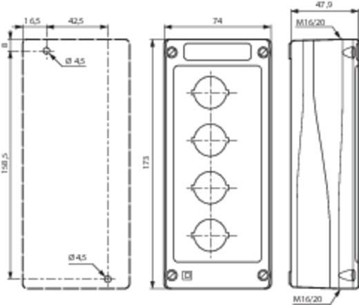 Leergehäuse 4 Einbaustellen (L x B x H) 173 x 74 x 47.9 mm Grau-Schwarz BACO BALBX0400 1 St.