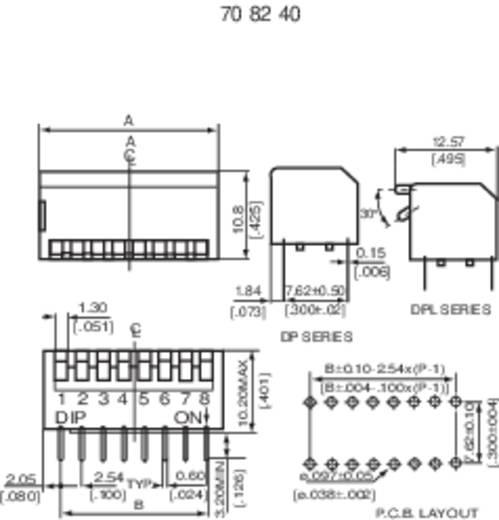 DIP-Schalter Polzahl 4 Piano-Type Diptronics DP-04V 1 St.