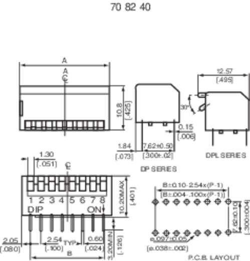 DIP-Schalter Polzahl 8 Piano-Type Diptronics DP-08V 1 St.