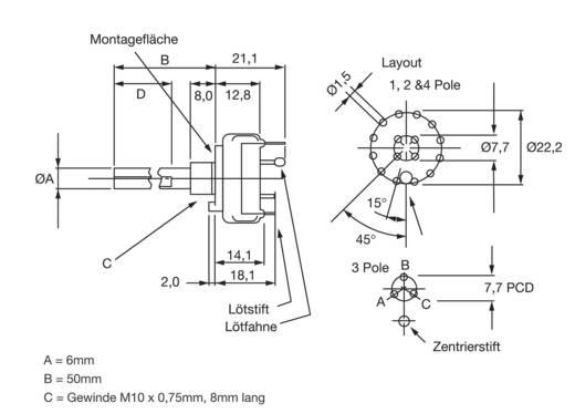 Unterspannungsauslöser 250 V/AC 0.15 A Schaltpositionen 6 6 x 30 ° Lorlin CK-1030 1 St.