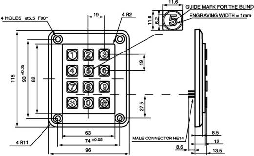 Drucktastenfeld Tastenfeld Matrix 3 x 4 EAO Secme S 12 150 141 1 St.
