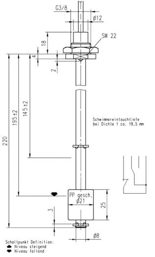 Schwimmerschalter 48 V/AC, 48 V/DC 0.5 A 1 Wechsler Elobau 221B1310 IP67 1 St.
