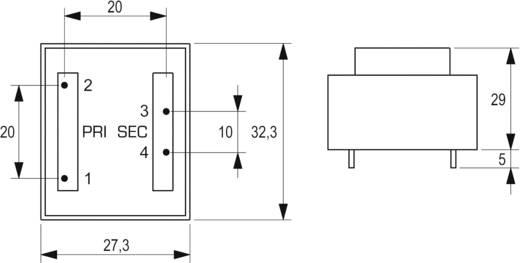 Printtransformator 1 x 230 V 1 x 9 V/AC 2.30 VA 255 mA VB 2,3/1/9 Block