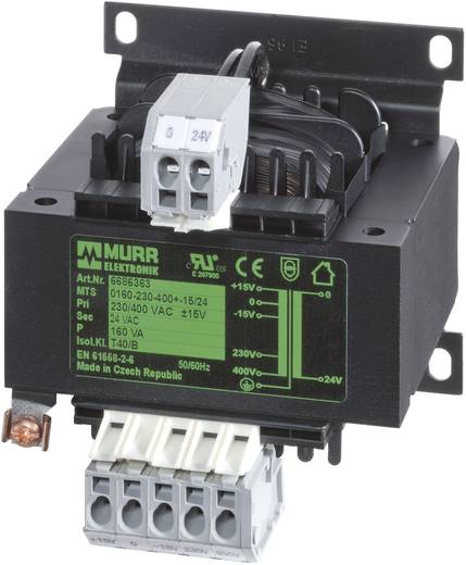 Steuertransformator, Trenntransformator 1 x 230 V, 400 V 1 x 230 V/AC 63 VA 6686347 Murr Elektronik