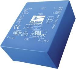 Transformateur pour circuits imprimés Block FL 18/9 2 x 115 V 2 x 9 V/AC 18 VA 1.0 A 1 pc(s)