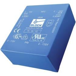 Plochý transformátor do DPS Block FL 18/12, UI 39/10,2, 2x 115 V, 2x 12 V, 2x 750 mA