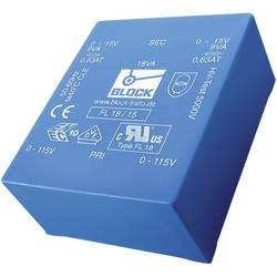Plochý transformátor do DPS Block FL 6/6, UI 30/10,5, 2x 115 V, 2x 6 V, 2x 500 mA