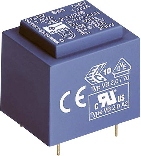 Printtransformator 1 x 230 V 2 x 24 V/AC 1 VA 41 mA VB 1,0/2/24 Block