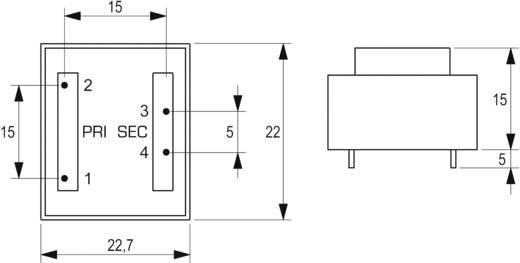 Printtransformator 1 x 230 V 1 x 6 V/AC 0.35 VA 58 mA VB 0,35/1/6 Block
