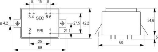 Printtransformator 1 x 230 V 2 x 15 V/AC 10 VA 333 mA VCM 10/2/15 Block