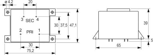 Printtransformator 1 x 230 V 1 x 24 V/AC 16 VA 666 mA VCM 16/1/24 Block
