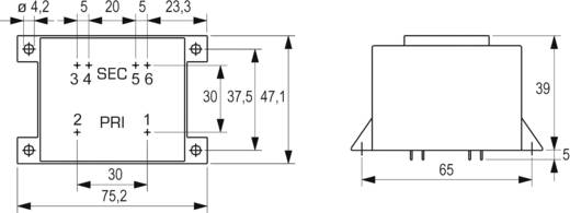 Printtransformator 1 x 230 V 2 x 9 V/AC 16 VA 888 mA VCM 16/2/9 Block