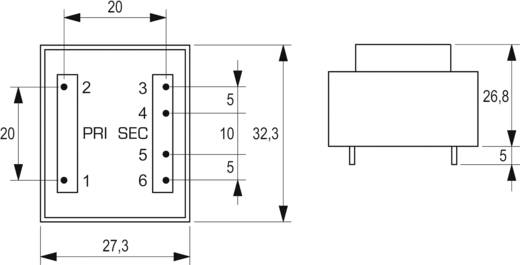 Printtransformator 1 x 230 V 2 x 9 V/AC 2 VA 111 mA VB 2,0/2/9 Block
