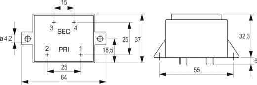 Printtransformator 1 x 230 V 1 x 9 V/AC 5 VA 555 mA VCM 5,0/1/9 Block