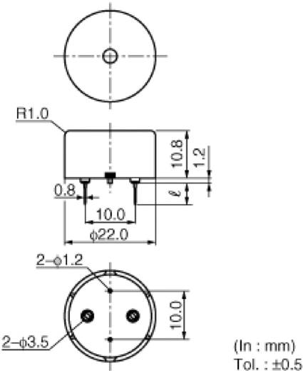 Miniatur Summer 70 dB 25 V Murata PKM22EPPH2001 22 mm x 12 mm Inhalt: 1 St.