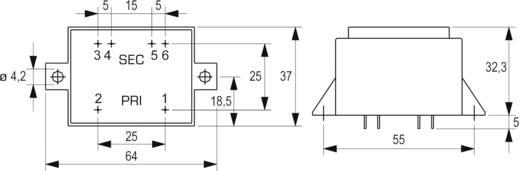 Printtransformator 1 x 230 V 2 x 15 V/AC 5 VA 166 mA VCM 5,0/2/15 Block