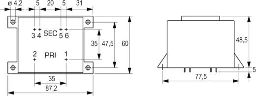 Printtransformator 1 x 230 V 2 x 9 V/AC 36 VA 4 A VCM 36/2/9 Block