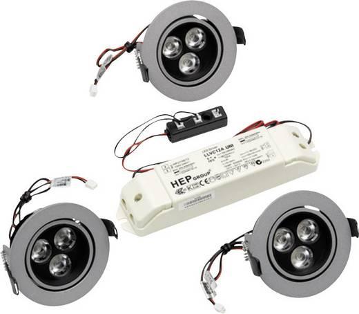 LED-Einbauleuchte 3er Set 3.6 W Warm-Weiß Thorn 96107438 Grau