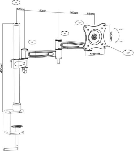 """Monitor-Tischhalterung 33,0 cm (13"""") - 68,6 cm (27"""") Neigbar+Schwenkbar Goobay ScreenScope"""