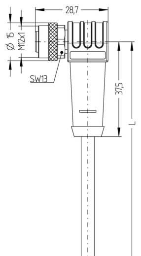 Sensor-/Aktor-Steckverbinder, konfektioniert M12 Buchse, gewinkelt 2 m Polzahl: 12 Escha 8047004 AL-WWAKS12-2/S370 1 St.