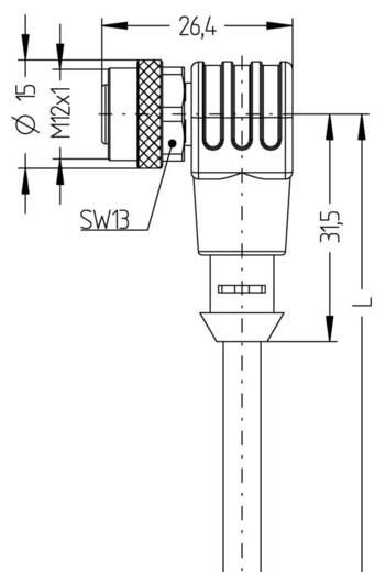 Sensor-/Aktor-Steckverbinder, konfektioniert M12 Buchse, gewinkelt 2 m Polzahl (RJ): 4 Escha 8045911 AL-WWAK4P3.1-2/S370