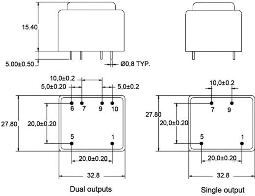 Printtransformator 1 x 230 V 2 x 9 V/AC 0.60 VA 33 mA BV302D09006 Zettler Magnetics