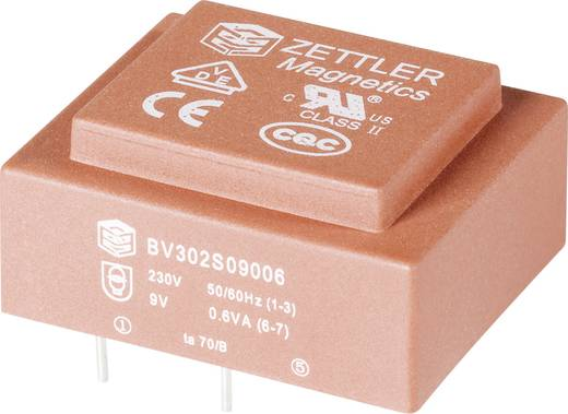Printtransformator 1 x 230 V 1 x 9 V/AC 0.60 VA 66 mA BV302S09006 Zettler Magnetics