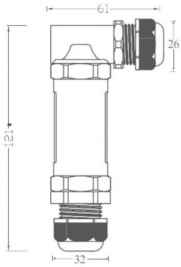 Leitungsverbinder Maxi L-gewinkelt THB.401 Pole: 3 L-gewinkelt 32 A 715929 1 St.