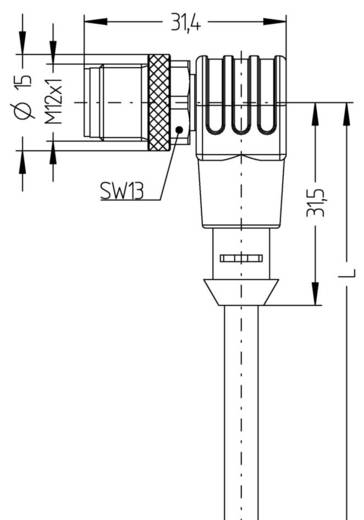 Sensor-/Aktor-Steckverbinder, konfektioniert M12 Stecker, gewinkelt 2 m Polzahl (RJ): 4 Escha 8043820 AL-WWAS4-2/S370 1