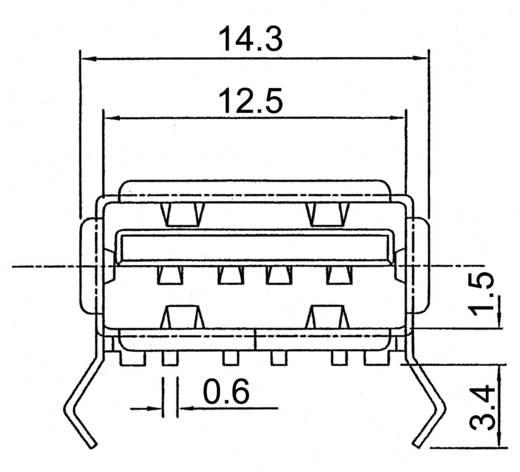 USB-Einbaubuchse-SMD 2.0 Buchse, Einbau A-USB A/SMT USB A/90° abgewinkelt ASSMANN WSW Inhalt: 1 St.