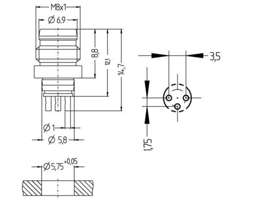 Sensor-/Aktor-Einbausteckverbinder M8 Stecker, Einbau Polzahl: 3 Escha 8008157 SESP3S 1 St.