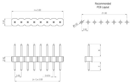 Stiftleiste (Standard) Anzahl Reihen: 1 Polzahl je Reihe: 3 W & P Products 973-10-003-00 1 St.