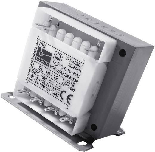 Steuertransformator, Trenntransformator, Sicherheitstransformator 1 x 230 V 2 x 12 V/AC 18 VA 750 mA EL 18/12 Block