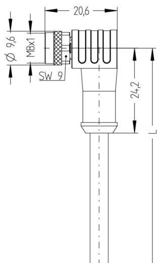 Escha 8046207 Sensor-/Aktor-Steckverbinder, konfektioniert M8 Buchse, gewinkelt 2 m Polzahl: 4 1 St.