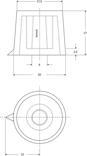 Drehknopf mit Zeiger Rot (Ø x H) 20 mm x 17 mm Strapubox 20/6 1 St.