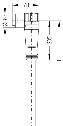 Sensor-/Aktor-Steckverbinder, konfektioniert M8 Buchse, gewinkelt 2 m Polzahl: 4 Escha 8052696 AL-WKP4-2/P00 1 St.