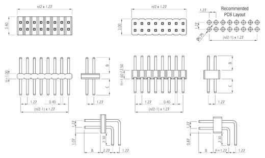 Stiftleiste (Standard) Anzahl Reihen: 2 Polzahl je Reihe: 20 W & P Products 712-1-040-1-10-00 1 St.