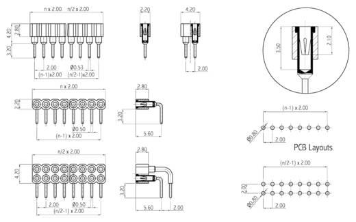 Buchsenleiste (Präzision) Anzahl Reihen: 2 Polzahl je Reihe: 2 W & P Products 257-004-2-50-00-6 1 St.
