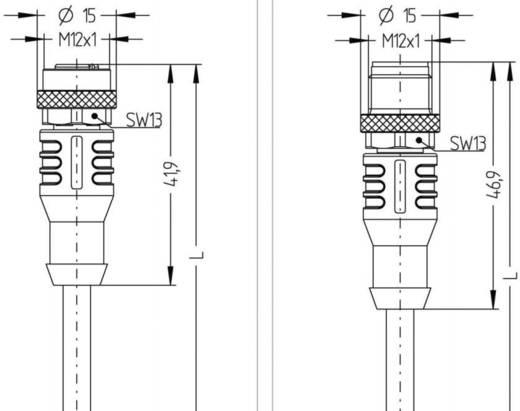 Sensor-/Aktor-Steckverbinder, konfektioniert M12 Stecker, gerade, Buchse, gerade 2 m Polzahl: 3 Escha 8044029 AL-WAK3-2-