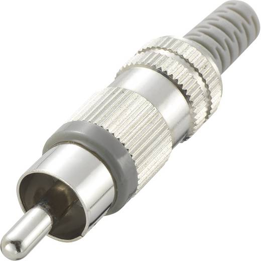 Cinch-Steckverbinder Stecker, gerade Polzahl: 2 Grau Conrad Components 1 St.